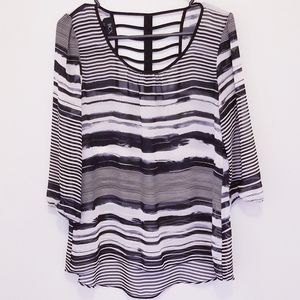BCX Juniors Large Abstract Striped Sheer Blouse